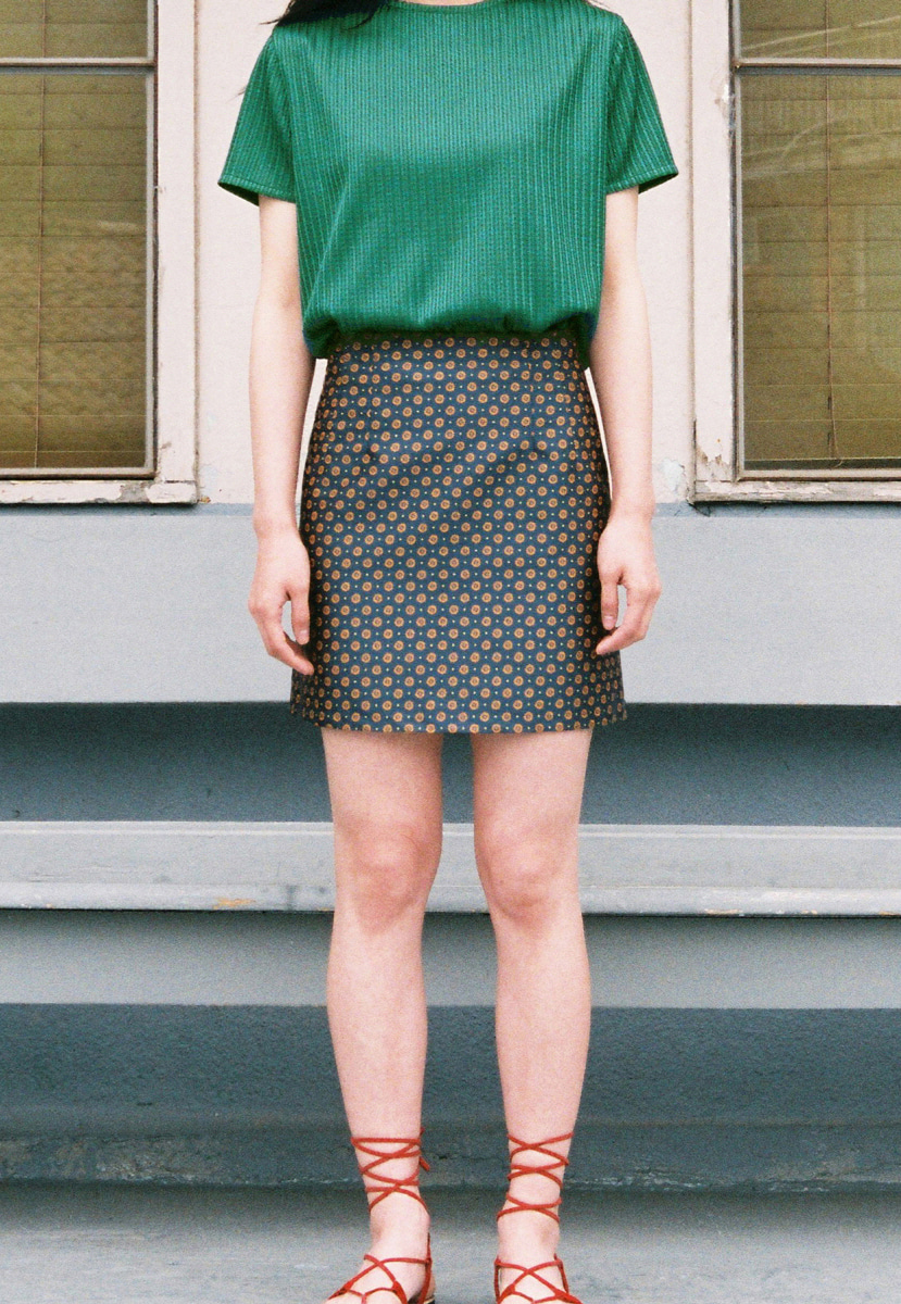 Ampersand앰퍼샌드 JACQUARD SHORT SKIRT - GREEN