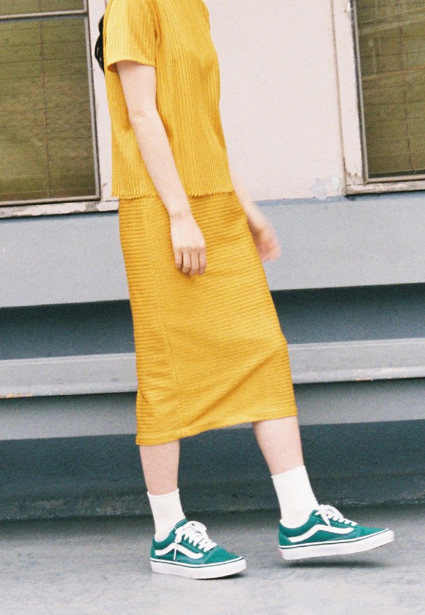 Ampersand앰퍼샌드 TWINE PENCIL SKIRT - YELLOW