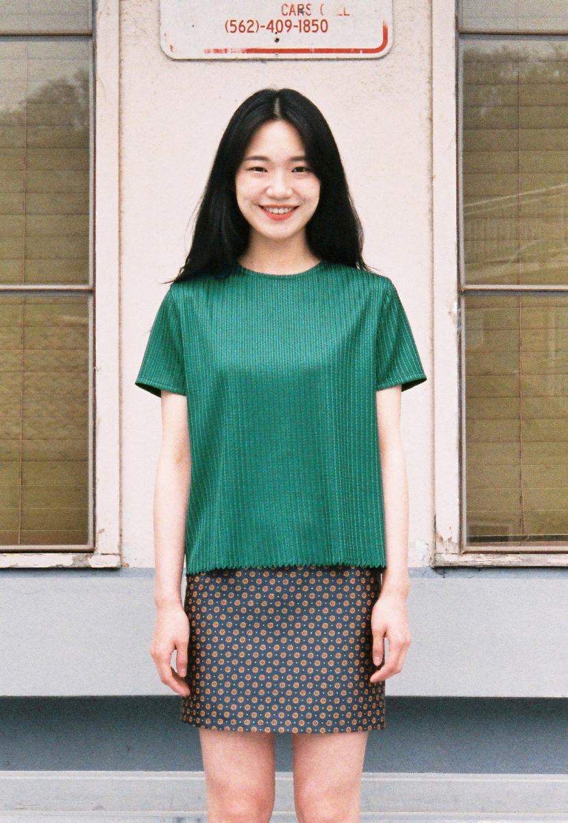 Ampersand앰퍼샌드 TWINE HALF SLEEVE BLOUSE - GREEN