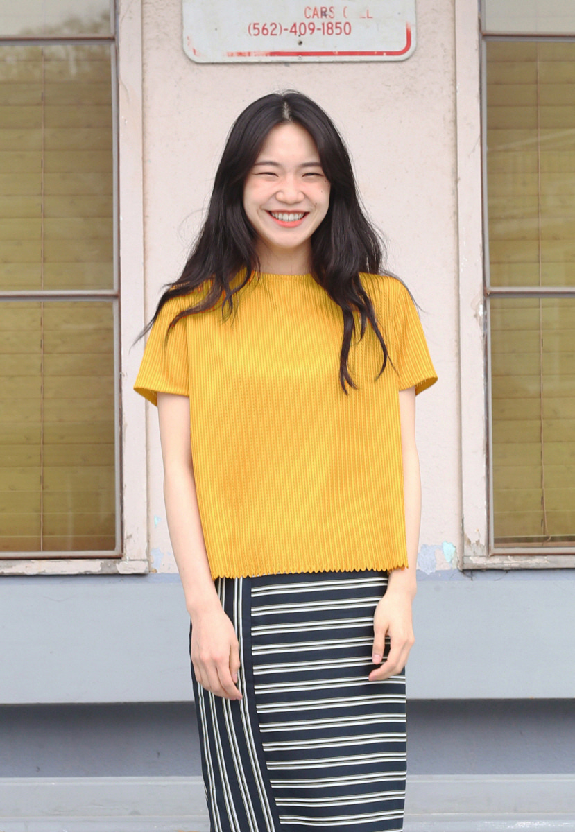 Ampersand앰퍼샌드 TWINE HALF SLEEVE BLOUSE - YELLOW