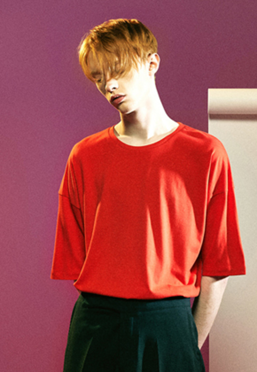 MMGL미니멀가먼츠랩 Semi-oversized t-shirts with silk (Red)
