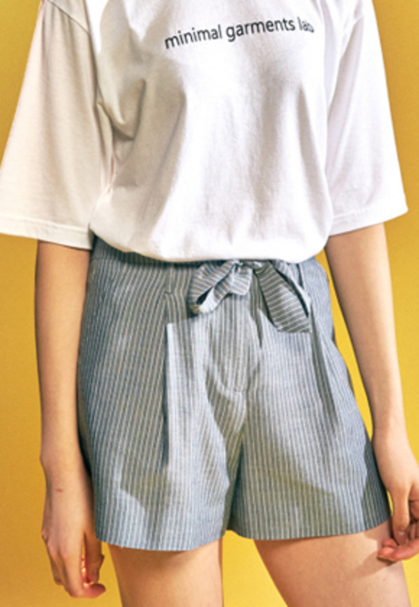 MMGL미니멀가먼츠랩 Women's Belted shorts (Grey stripe)