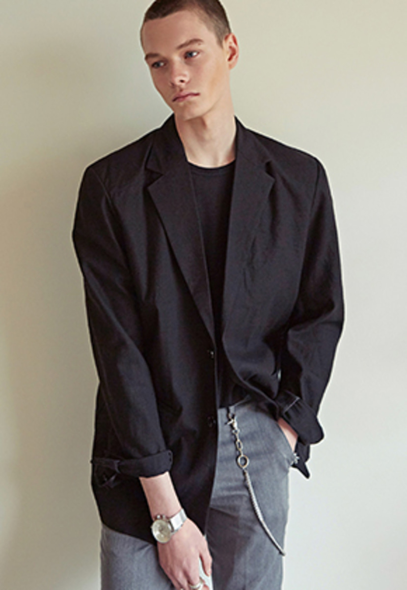 Yan13얀써틴 LINEN STANDARD SINGLE JACKET_BLACK
