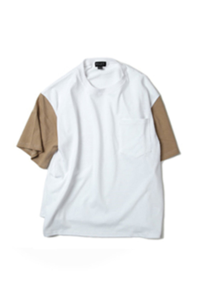Ballute발루트 COLOR SLEEVE POCKET T-SHIRT (white / desert)
