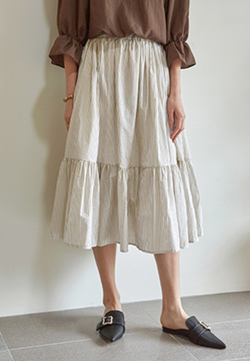 Yan13얀써틴 STRIPE LONG FRILL SKIRT_BEIGE