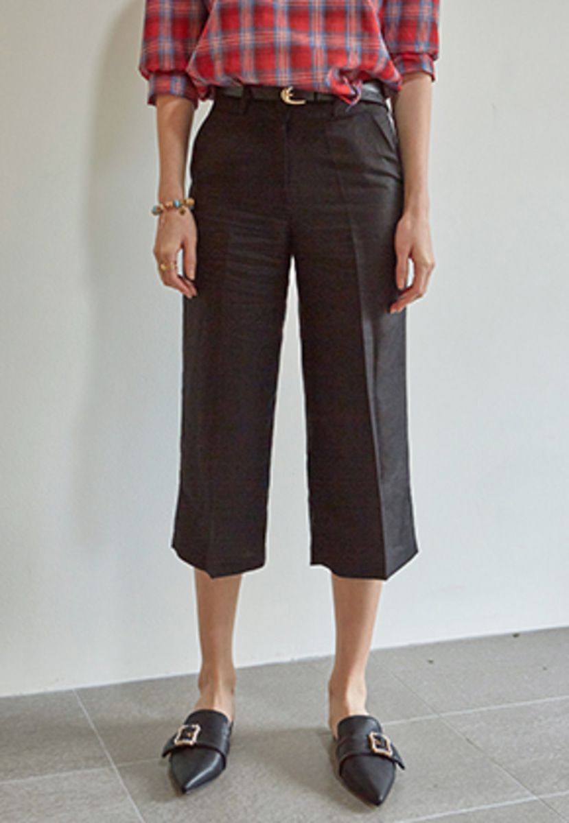 Yan13얀써틴 LINEN WIDE CROP PANTS+BELT SET_BLACK