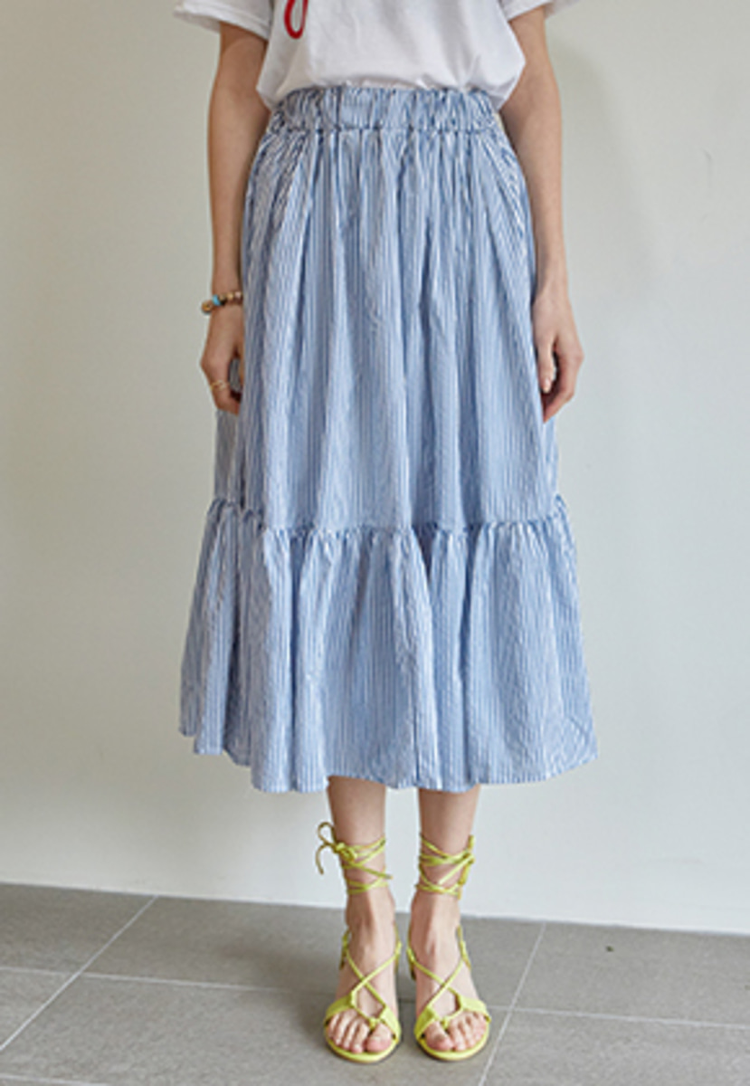 Yan13얀써틴 STRIPE LONG FRILL SKIRT_BLUE