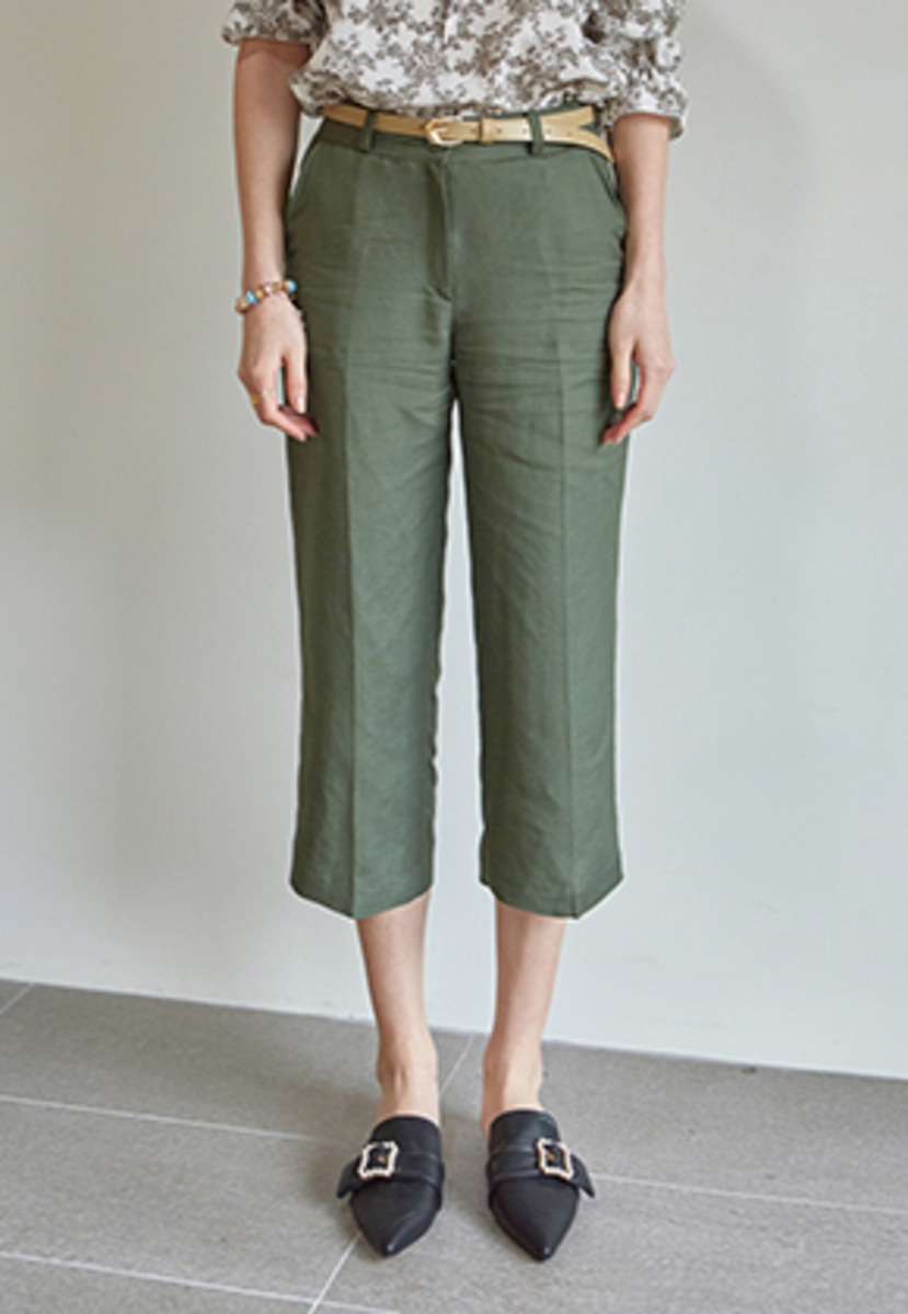 Yan13얀써틴 LINEN WIDE CROP PANTS+BELT SET_KHAKI