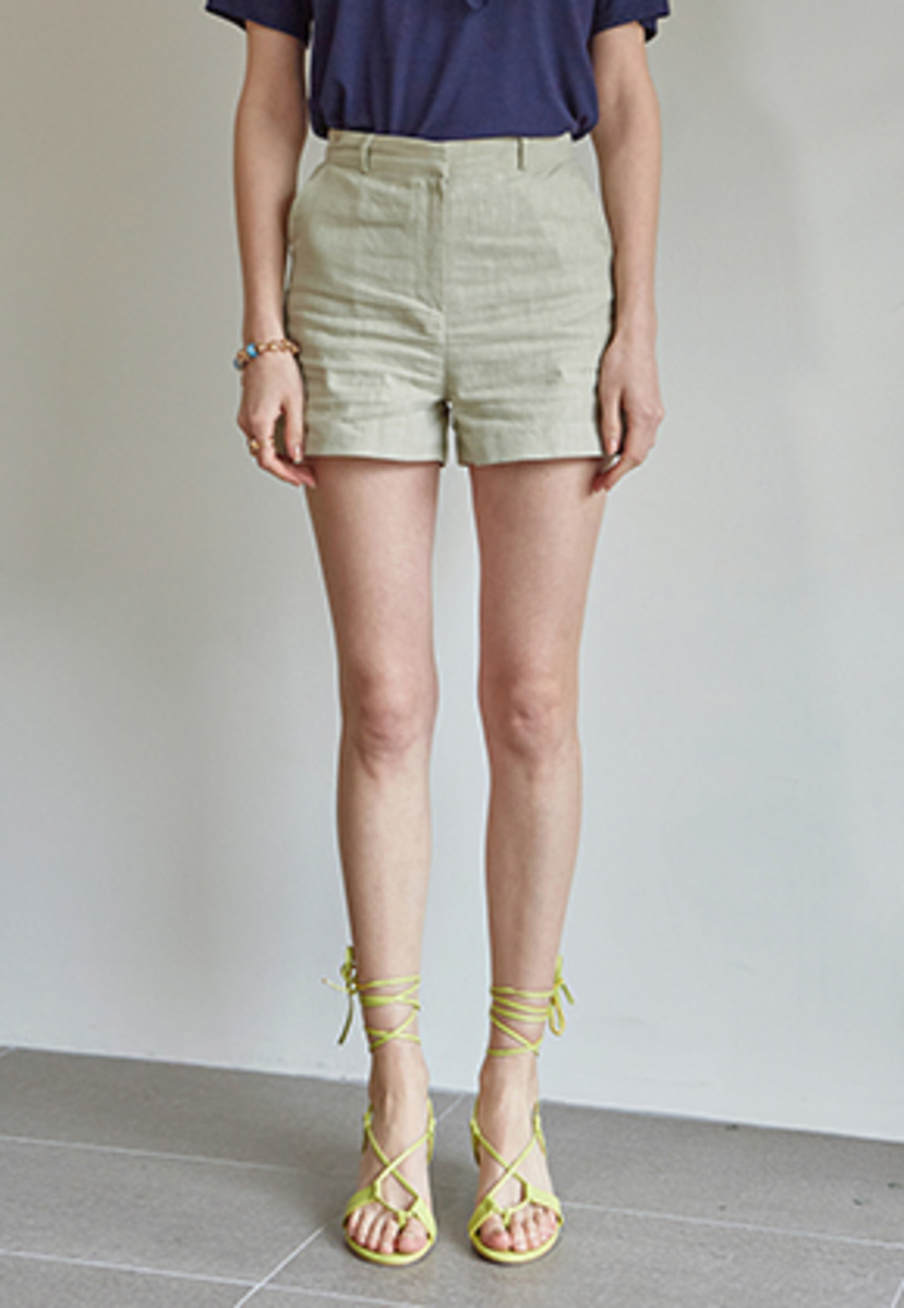 Yan13얀써틴 EASY WEAR LINEN SHORTS_LIGHT KHAKI