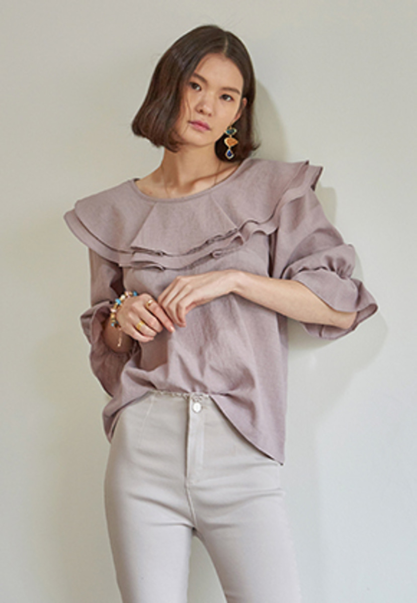 Yan13얀써틴 CHARMING FRILL 3/4 SLEEVE BLOUSE_PINK