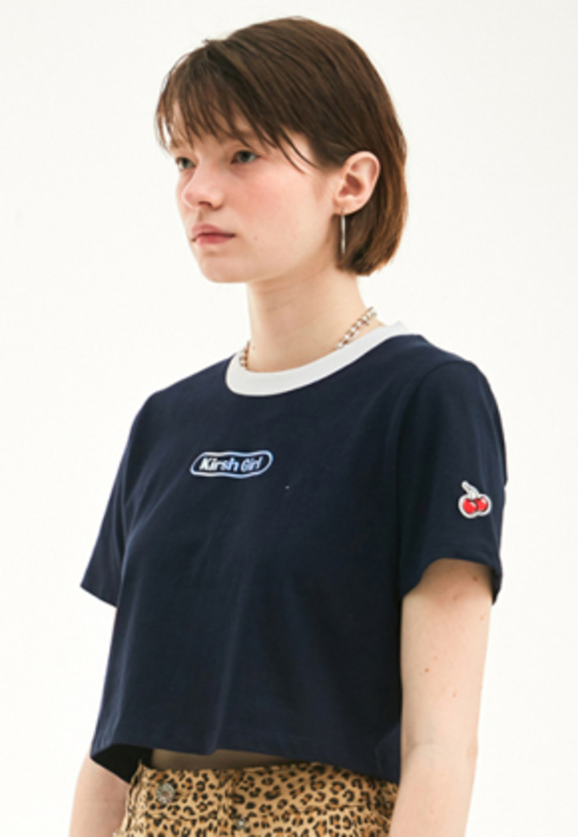 KIRSH키르시 KIRSH 키르시 KIRSH GIRL CROPPED T-SHIRT HS [NAVY]