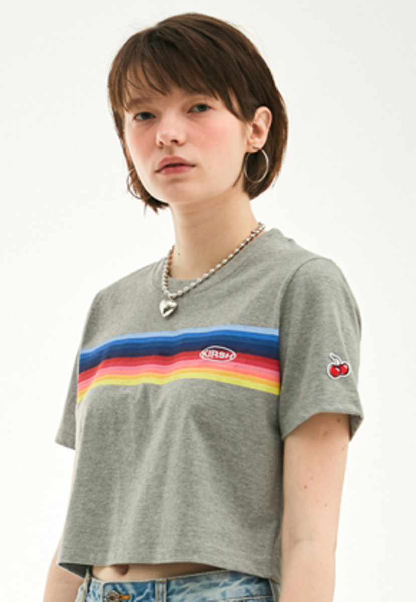 KIRSH키르시 KIRSH 키르시 RAINBOW CROPPED T-SHIRT HS [GRAY]