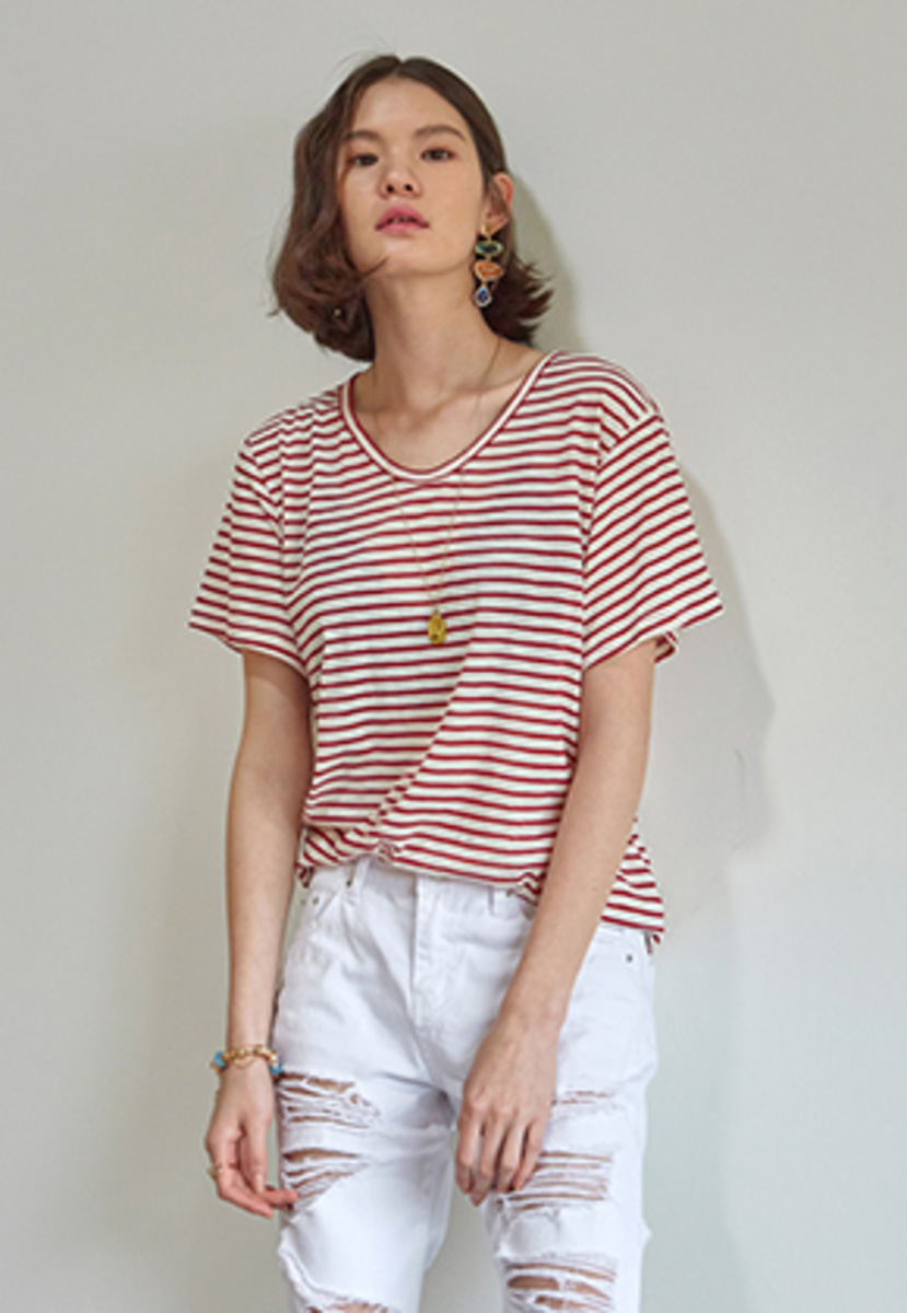 Yan13얀써틴 SOFT STRIPE V-NECK T-SHIRTS_RED