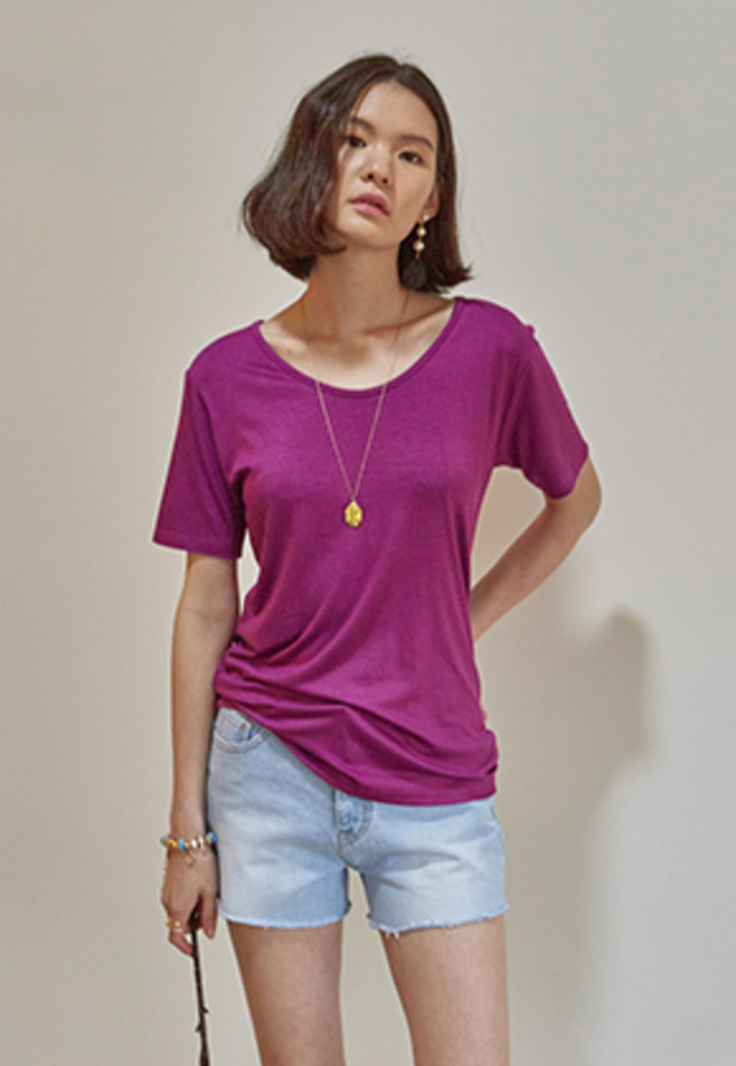Yan13얀써틴 SOFT SOLID V-NECK T-SHIRTS_PURPLE