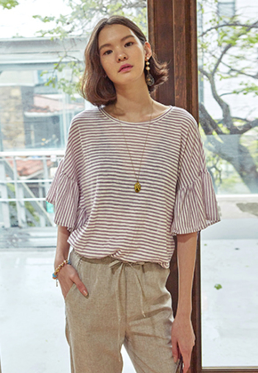 Yan13얀써틴 STRIPE FRILL SLEEVE T-SHIRTS_PURPLE