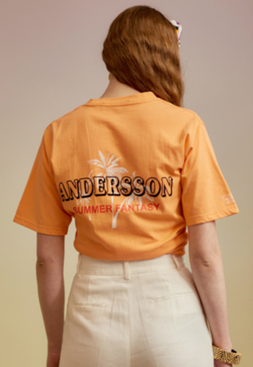 Anderssonbell앤더슨벨 UNISEX PALM TREE FLOCKING T-SHIRT atb213u(Peach Orange)