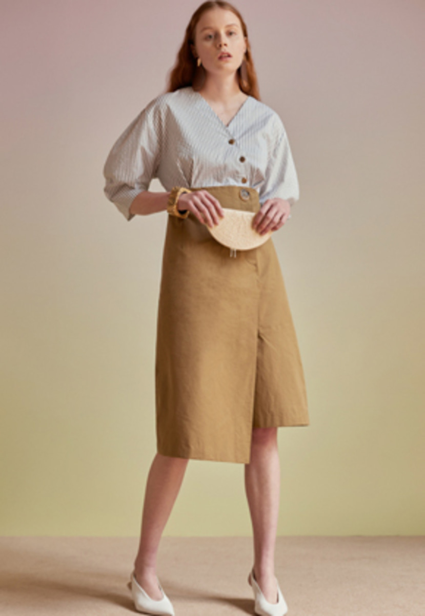 Anderssonbell앤더슨벨 LENA SHIRT COMBO DRESS atb205w(Stripe / Khaki)