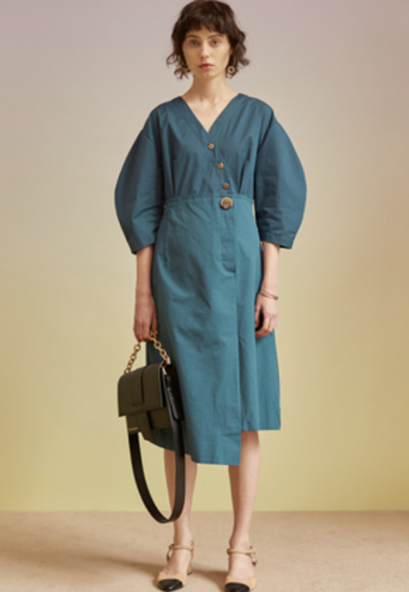 Anderssonbell앤더슨벨 LENA SHIRT COMBO DRESS atb205w(Blue / Green)