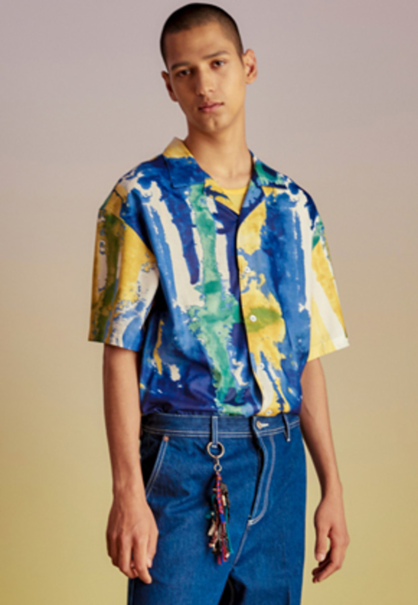 Anderssonbell앤더슨벨 FANTASIA PRINT OPEN COLLAR SHIRT atb199m(Blue yellow)