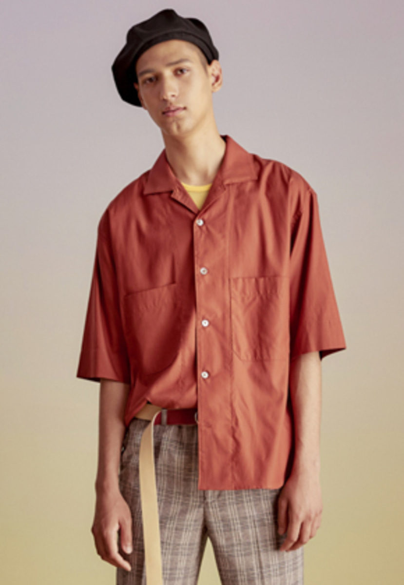 Anderssonbell앤더슨벨 SEASIDE COLOR BLOCK OPEN COLLAR SHIRT atb197m(Brick)