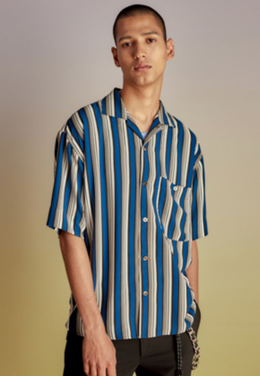 Anderssonbell앤더슨벨 STRIPE OPEN COLLAR SHIRT atb196m(Navy Stripe)