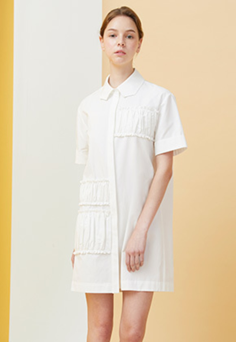Millogrem밀로그램 Polygon Collar Shirring Dress - white
