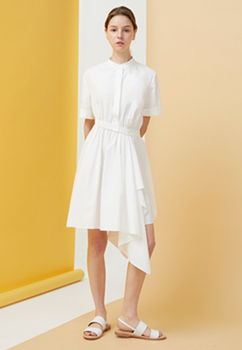 Millogrem밀로그램 Draped Shirts Dress - white