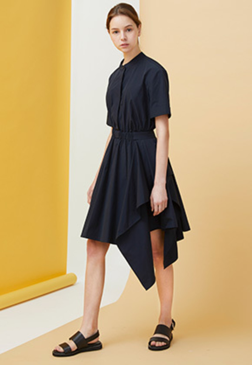 Millogrem밀로그램 Draped Shirts Dress - navy