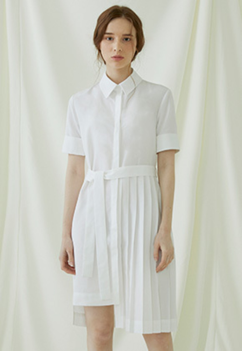 Millogrem밀로그램 Partial Pleats Dress - ivory