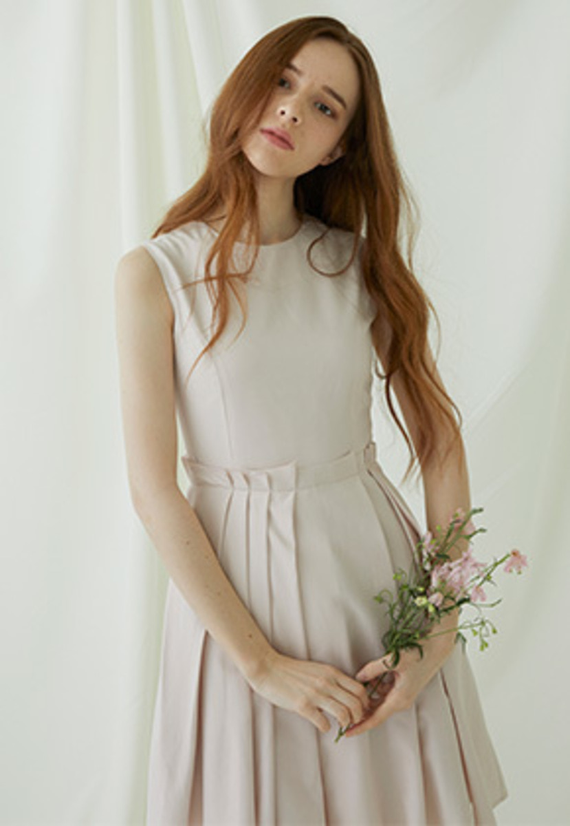 Millogrem밀로그램 Multiple Layered Sleeveless Dress - pink