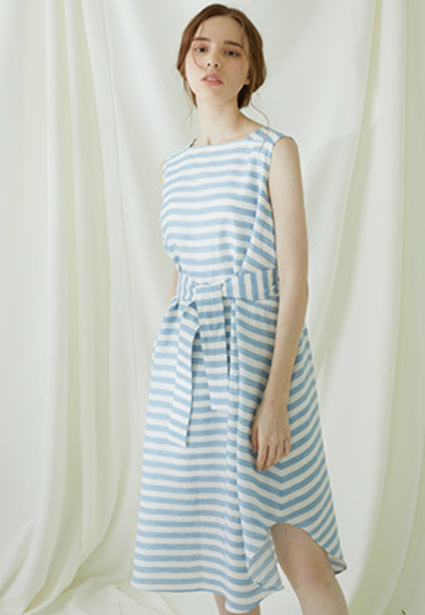 Millogrem밀로그램 Striped Draped Dress - blue