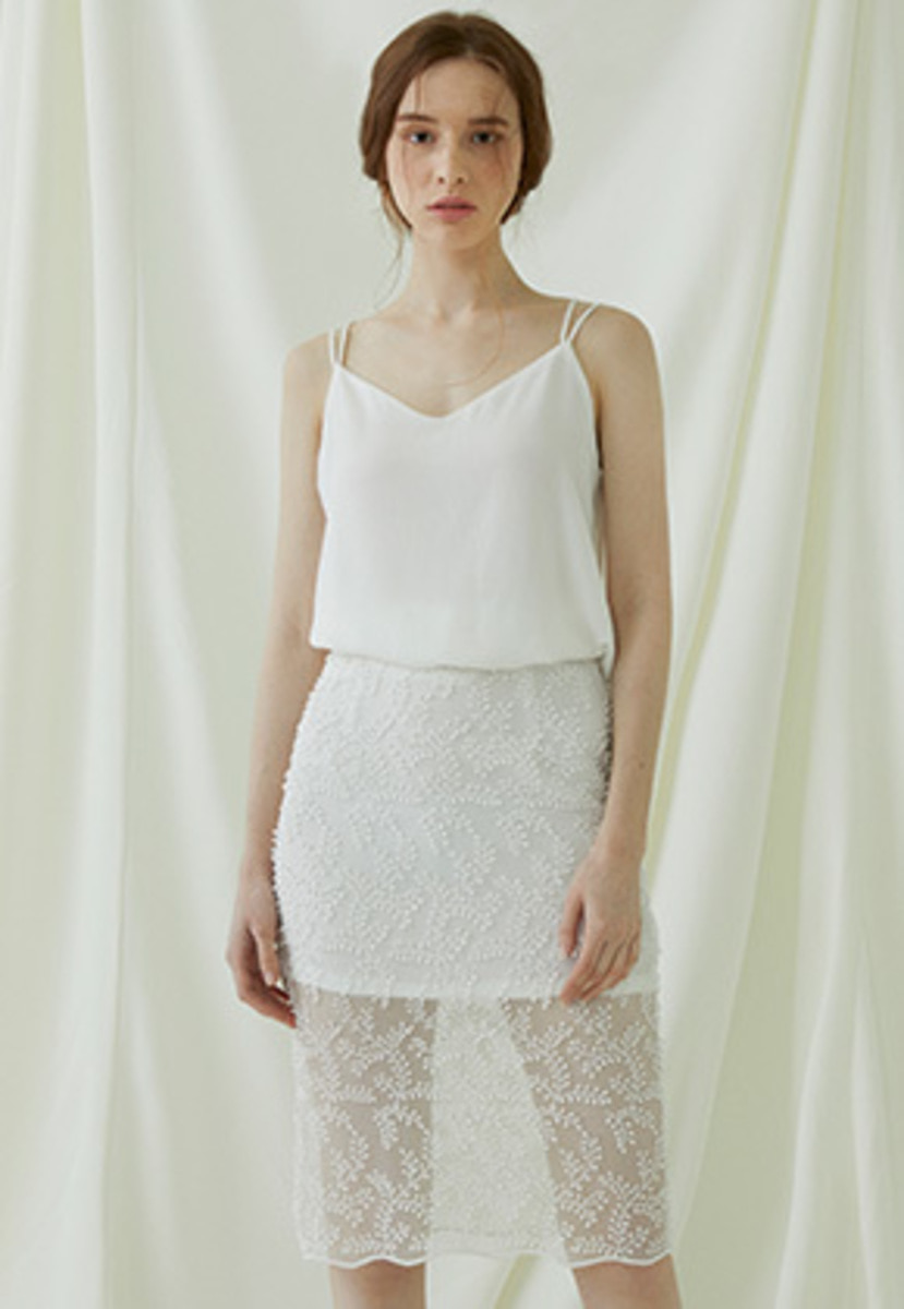 Millogrem밀로그램 Bell Laced Long Skirt - ivory