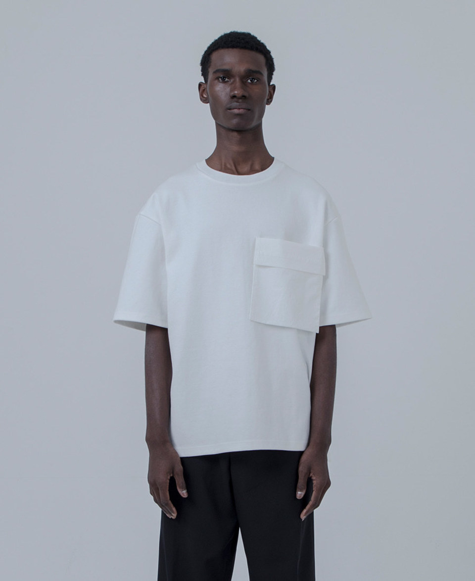 Keymun키먼 Woven Pocket T-shirt 1/2 (white)
