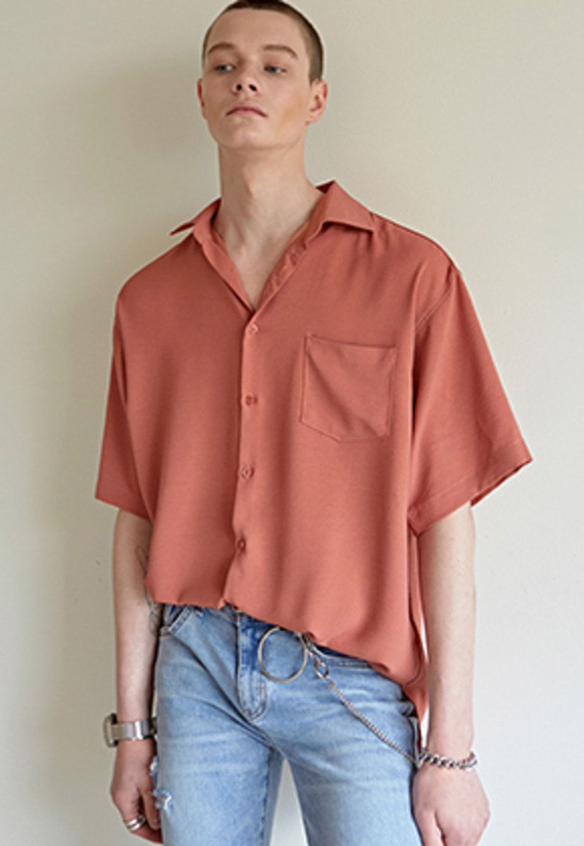 Yan13얀써틴 WINDSOR COLLAR SHORT-SLEEVE SH_DARK ORANGE
