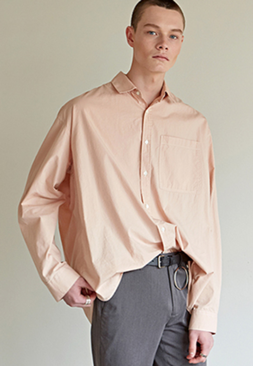 Yan13얀써틴 OVER-FIT STRIPE SHIRTS_PINK
