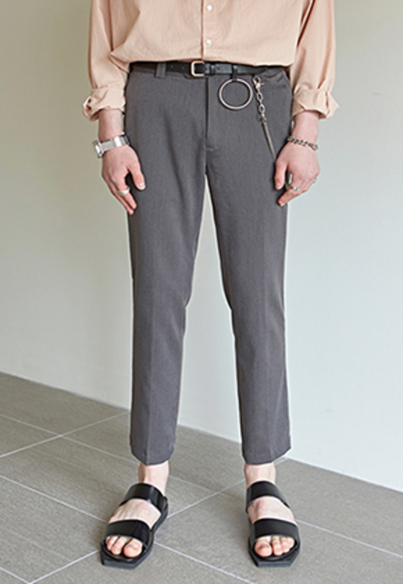 Yan13얀써틴 STRAIGHT ANKLE-LENGTH SLACKS_GRAY
