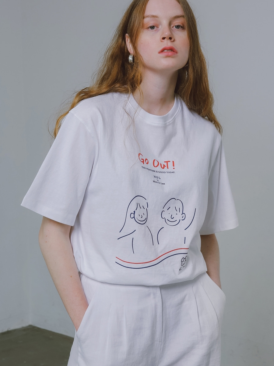 More or Less모어올레스 (UNISEX) GO OUT 1/2 T-SHIRTWHITE