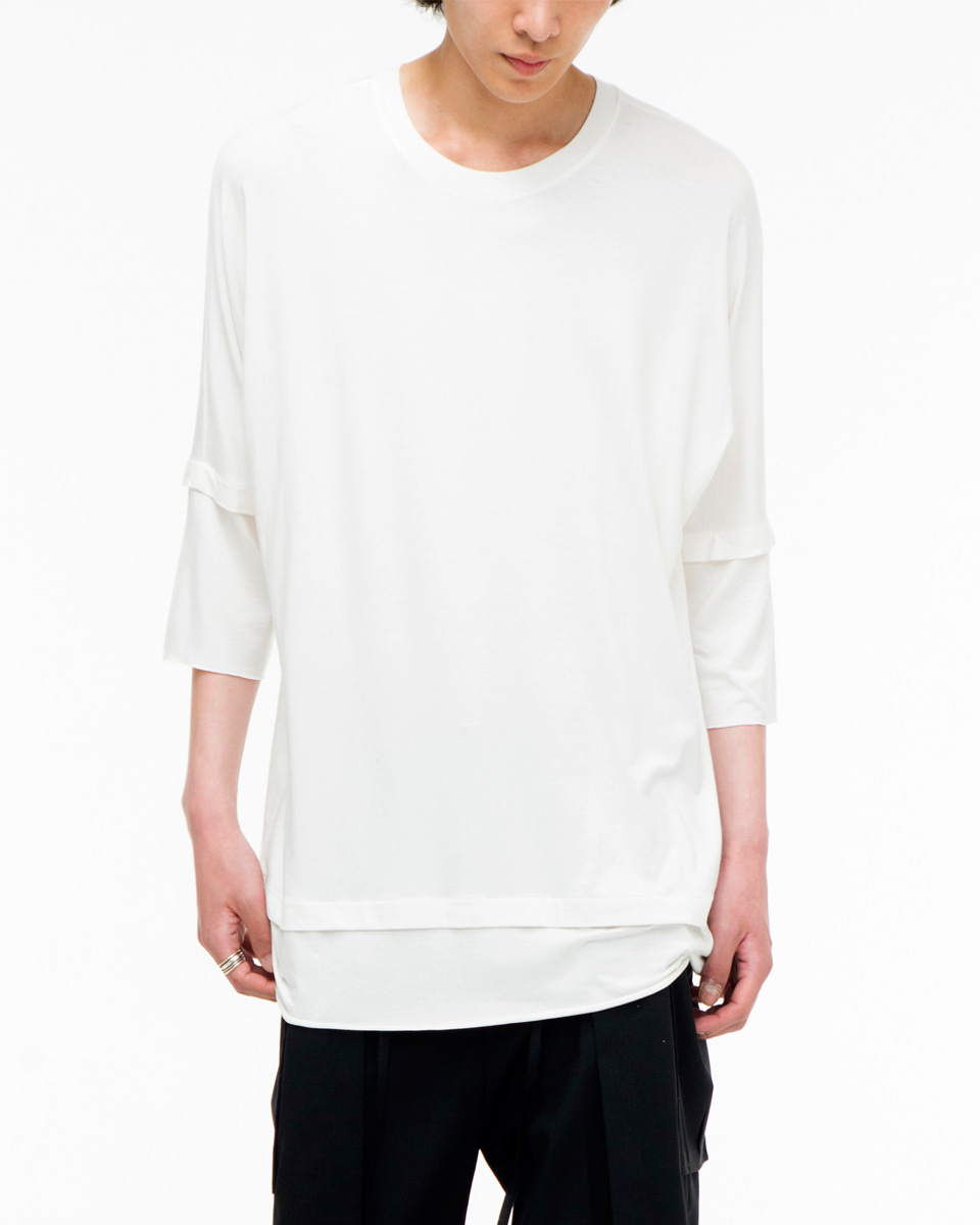 Noirer노이어 Double layerd Tshirts White 더블 레이어드 티셔츠