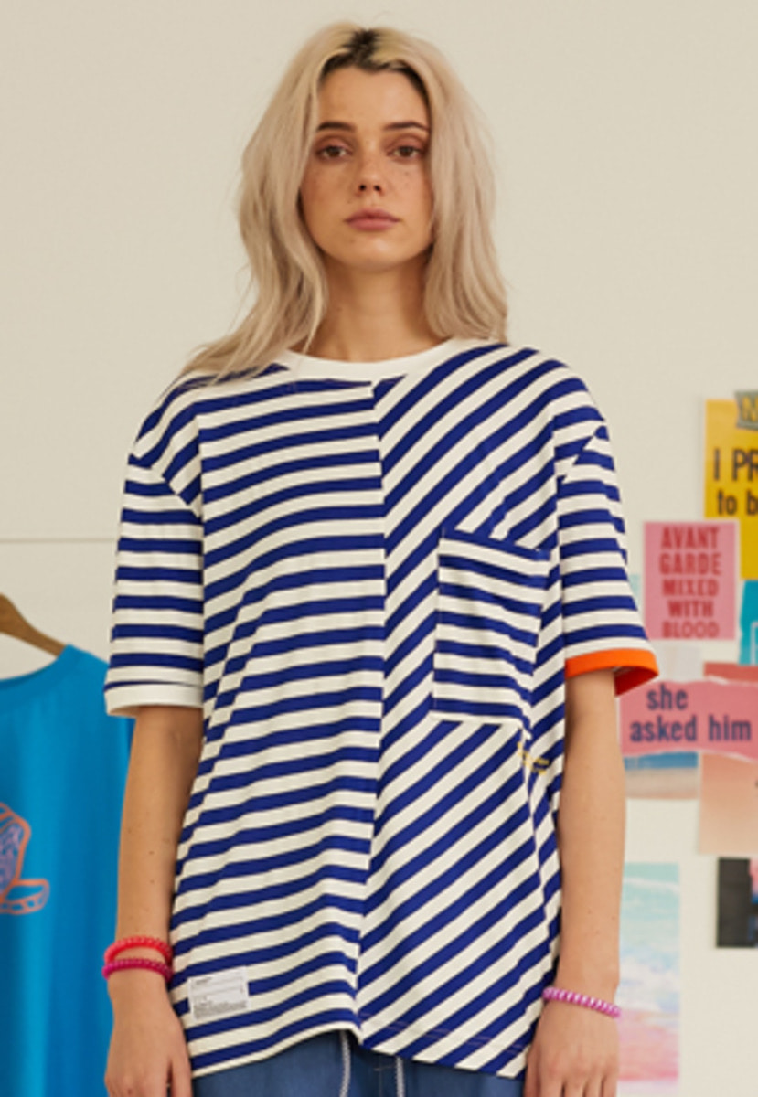 SNACKCULTURE스낵컬쳐 Unbalanced Stripe Boarder-T_Blue