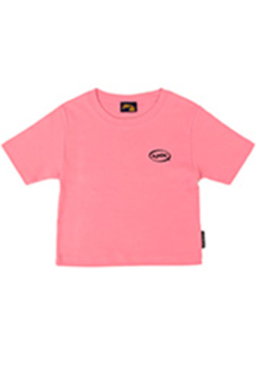 A Piece Of Cake어피스오브케이크 Oval Logo Crop Top_Pink