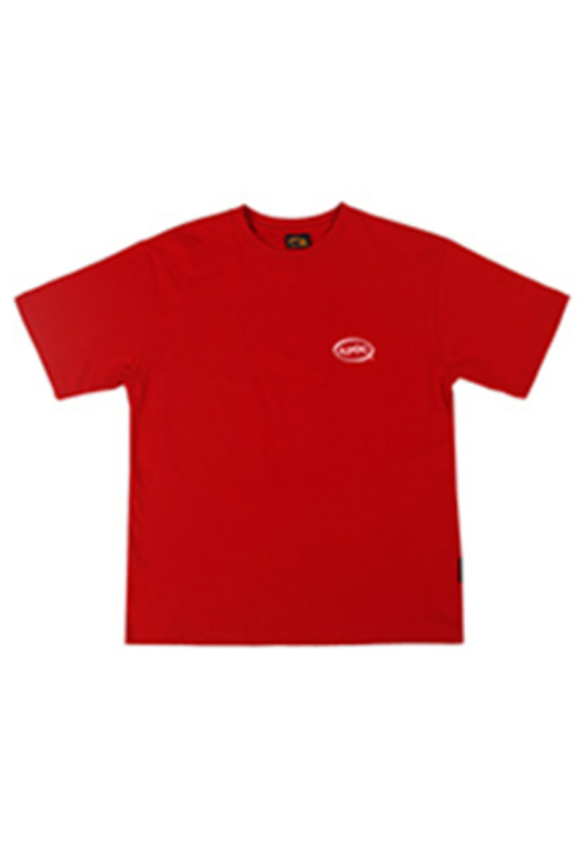 A Piece Of Cake어피스오브케이크 Oval Logo 1/2 T-shirts_Red