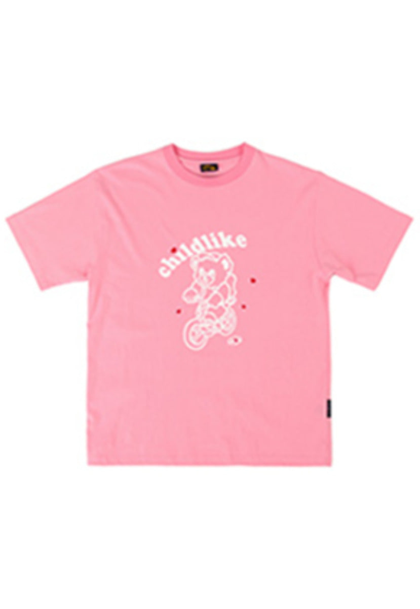 A Piece Of Cake어피스오브케이크 Bicycle Bear 1/2 T-shirts_Pink