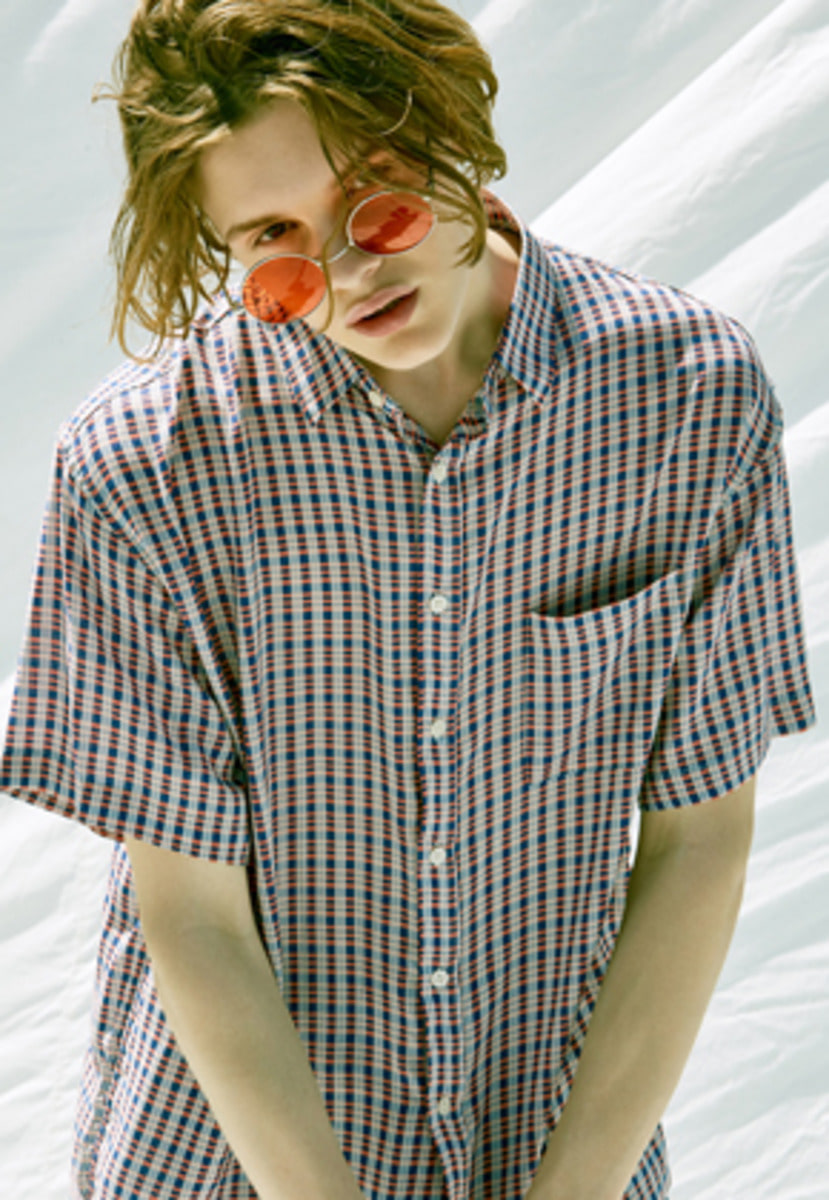 Voiebit브아빗 V433 SILKY CHECK HALF-SHIRT  RED