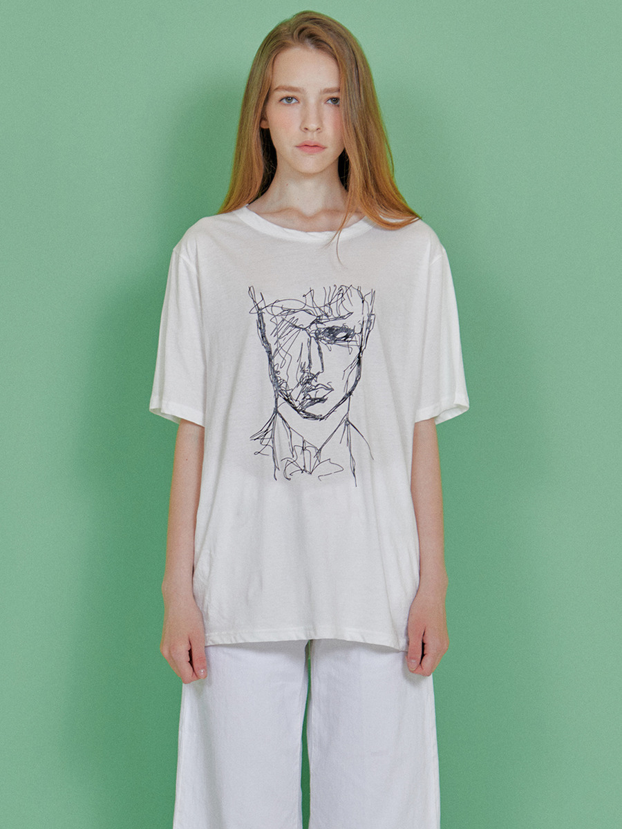 INDIGO CHILDREN인디고칠드런 DRAWING T-SHIRT [OFF WHITE]