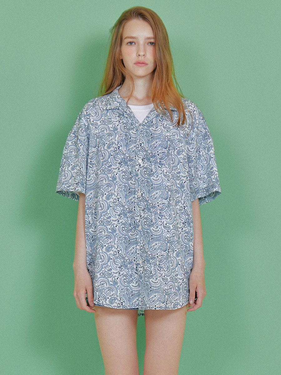INDIGO CHILDREN인디고칠드런 PAISLY HALF SHIRT [WHITE]