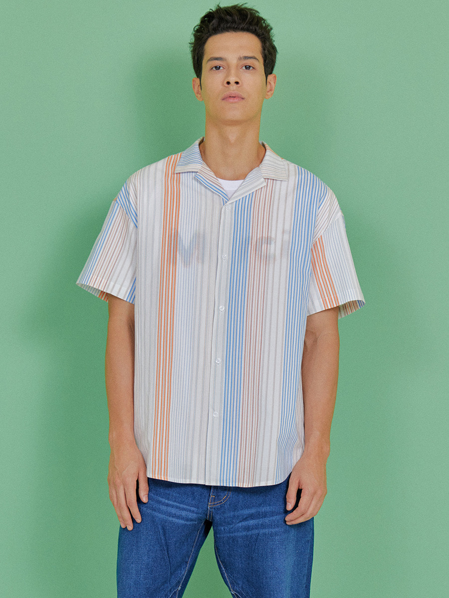 INDIGO CHILDREN인디고칠드런 MULTI STRIPE HALF SHIRT [BLUE]