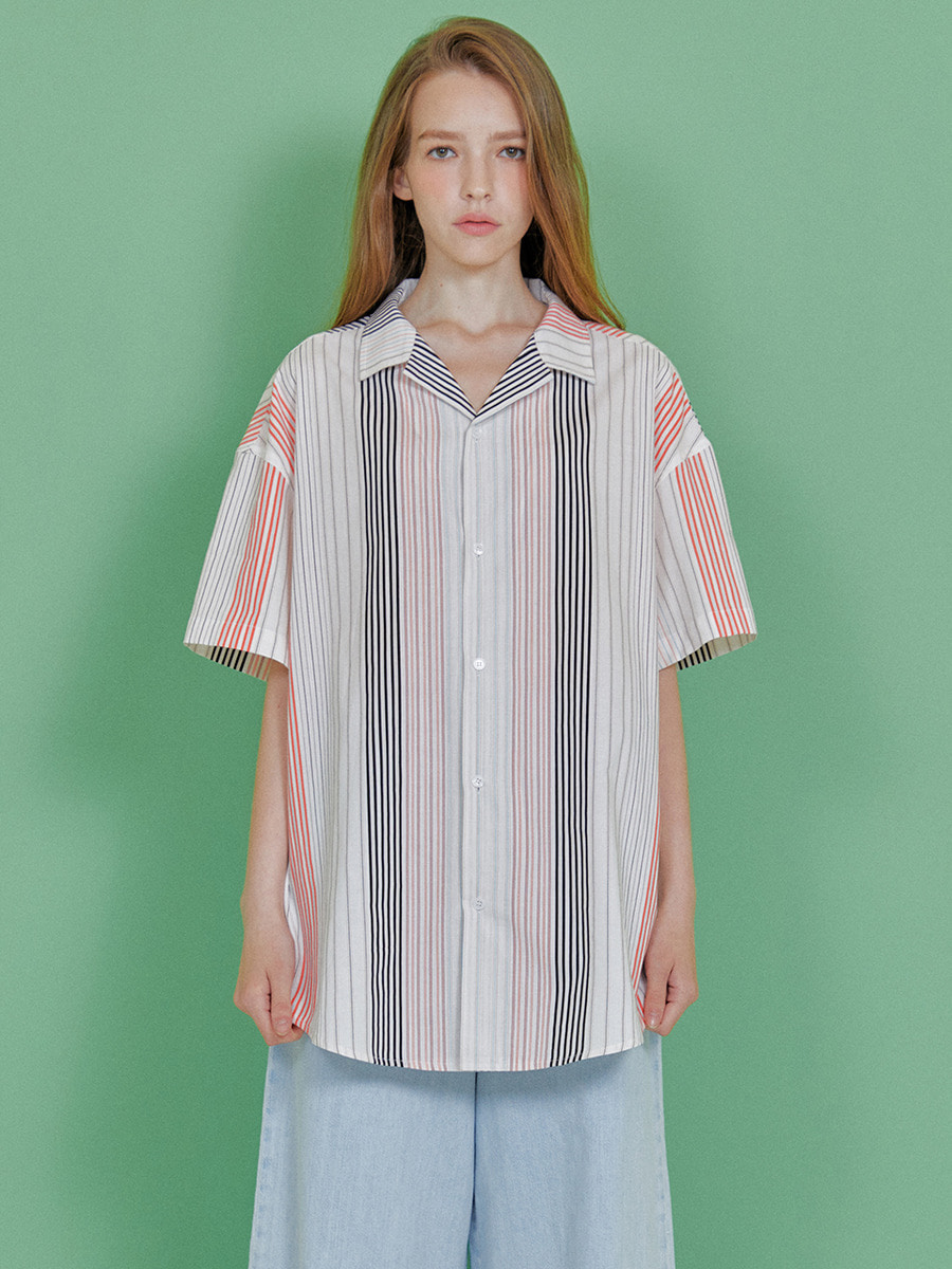 INDIGO CHILDREN인디고칠드런 MULTI STRIPE HALF SHIRT [BLACK]
