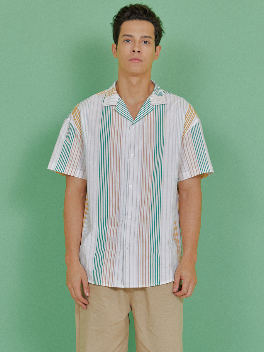 INDIGO CHILDREN인디고칠드런 MULTI STRIPE HALF SHIRT [GREEN]