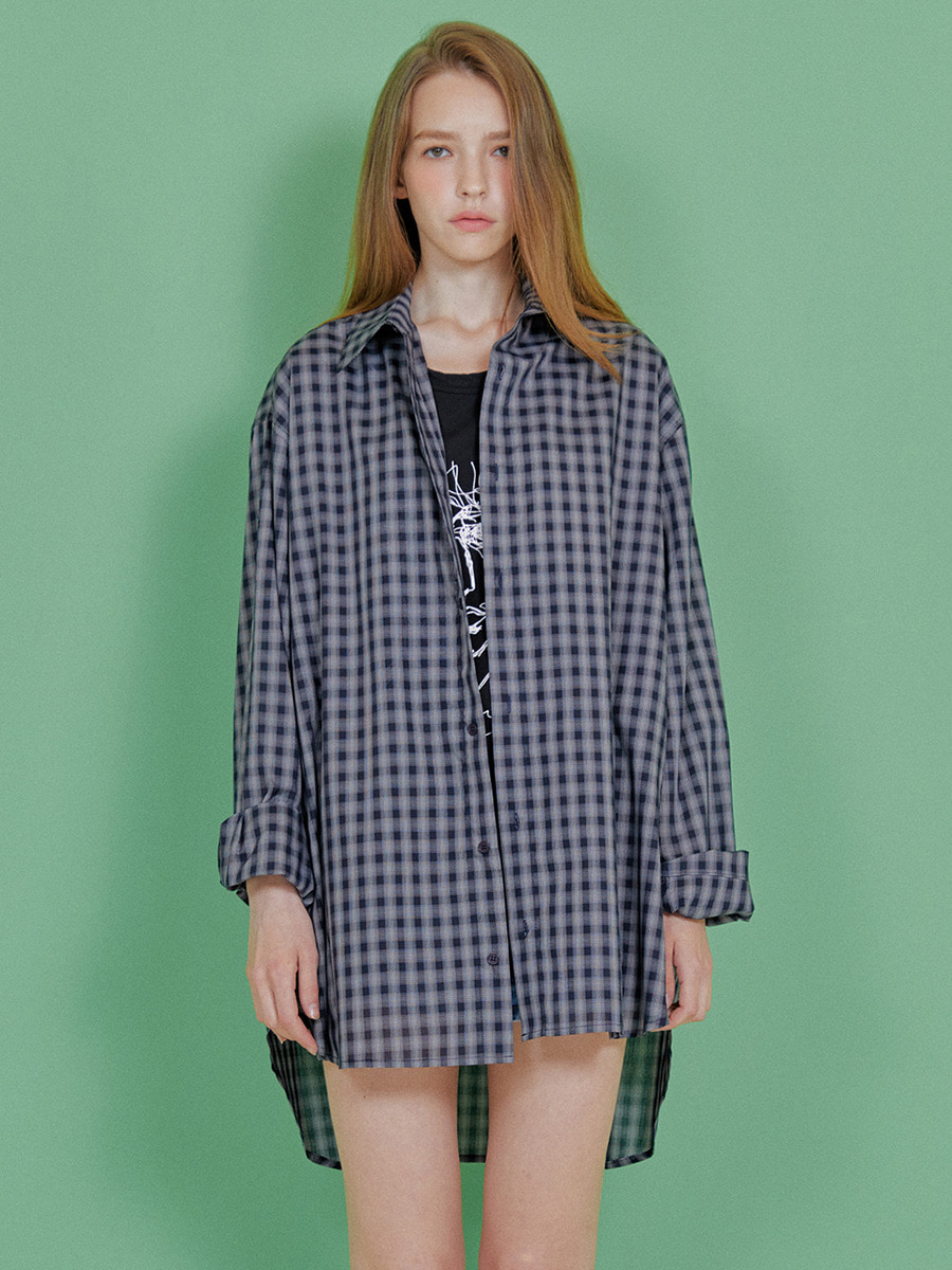 INDIGO CHILDREN인디고칠드런 OVERSIZED CHECK TAIL SHIRT  [NAVY]