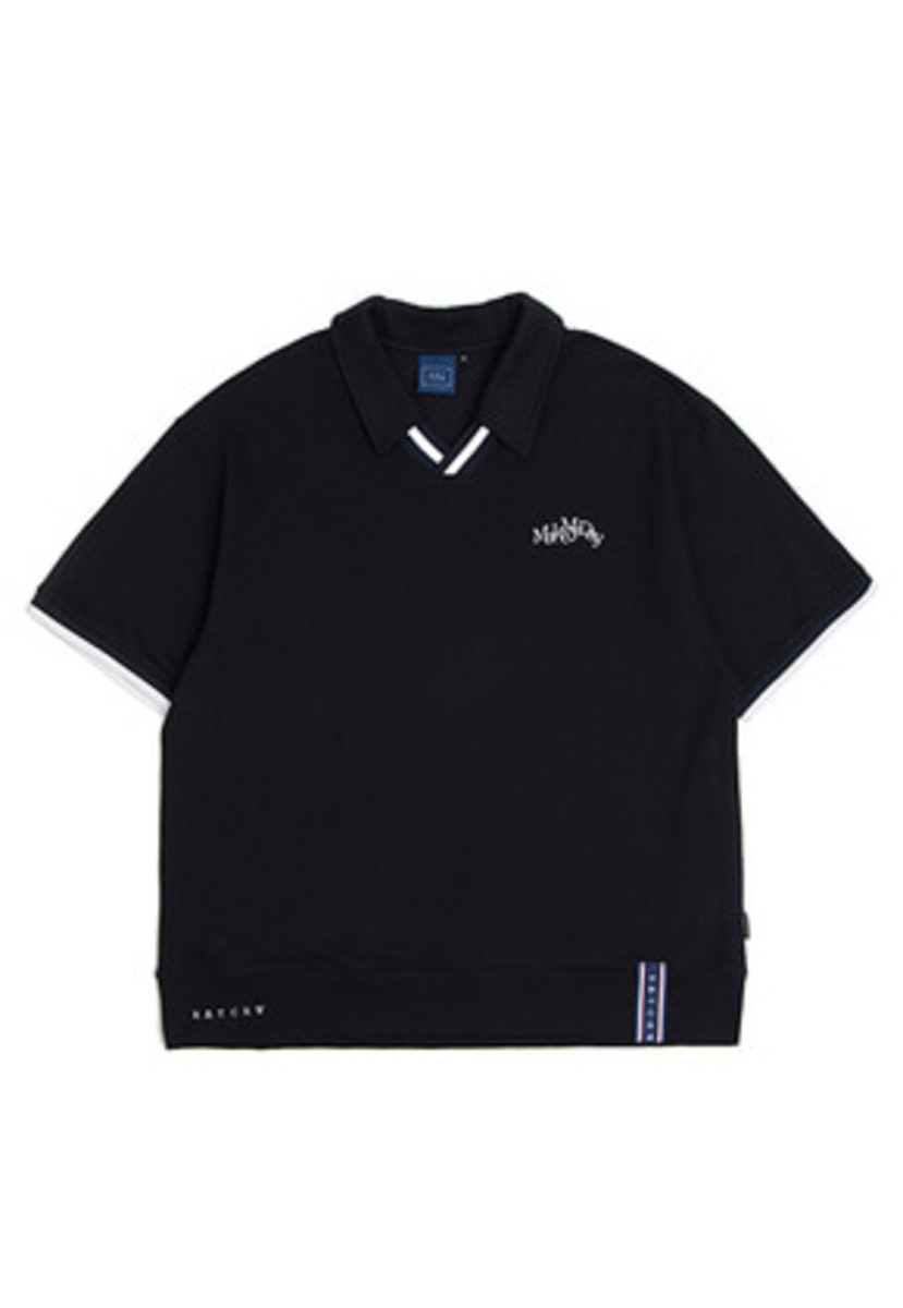 Romantic Crown로맨틱크라운 Neckline Band Collar T Shirt_Navy
